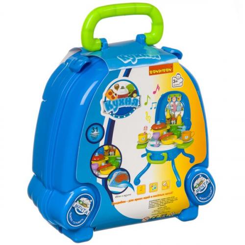 Набор игровой в голубом чемоданчике 32х29х40 см, 31 дет., со светом и звуком,  Bondibon, кухня,  арт