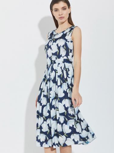 Платье из вискозы с растительным принтом