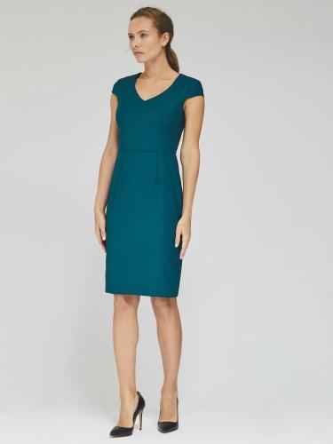 Платье из тонкой шерсти с фигурным подрезом сзади