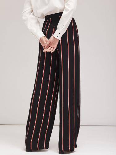 Широкие брюки в контрастную полоску