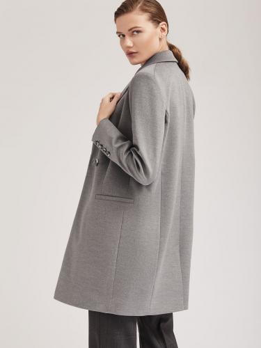 Пальто из фактурной ткани прямого силуэта