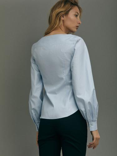 Блуза из хлопка приталенного силуэта