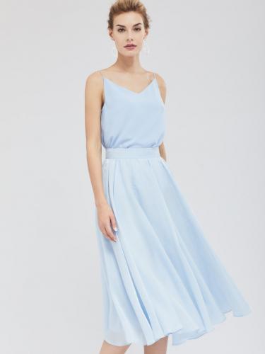 Расклешённая юбка из ткани с блеском