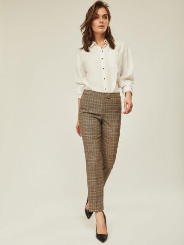 Укороченные брюки с принтом «клетка»