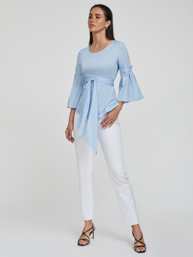Блуза из хлопка с поясом