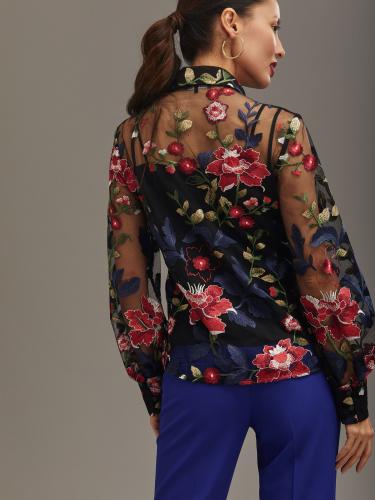 Двухслойная блуза с цветочным принтом