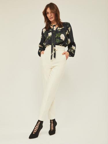 Блуза из вискозы прямого силуэта с цветочным принтом