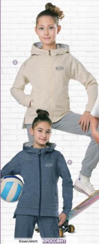Комплект для девочек Кроссфит, лаванда, крем/серебро