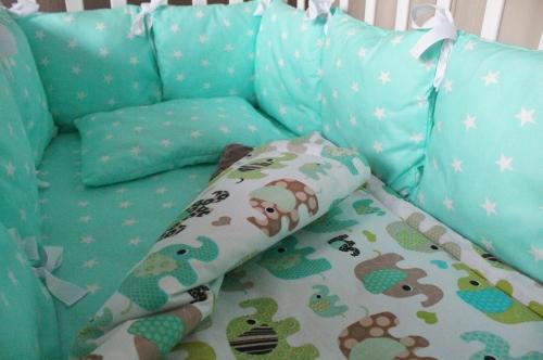Комплект в кроватку Изумрудные слоники арт 1022