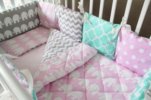 Комплект в кроватку Розовый слон арт 1011