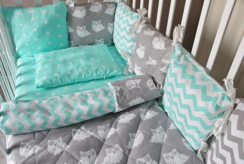 Комплект в кроватку Совы на 4 стороны кроватки  арт 1001-12