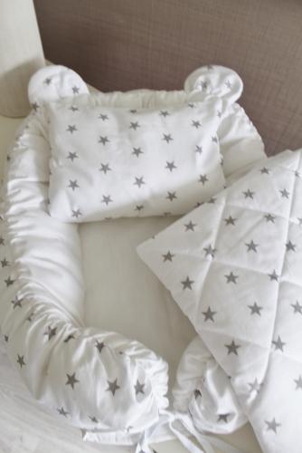 Babynest Комплект кокон + подушечка декоративная + одеяльце белый с серыми звездами арт 5044