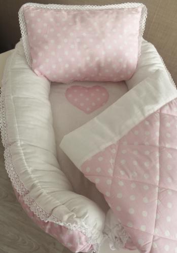 Babynest Комплект кокон + подушечка декоративная + одеяльце розовый в белый горох арт 5046