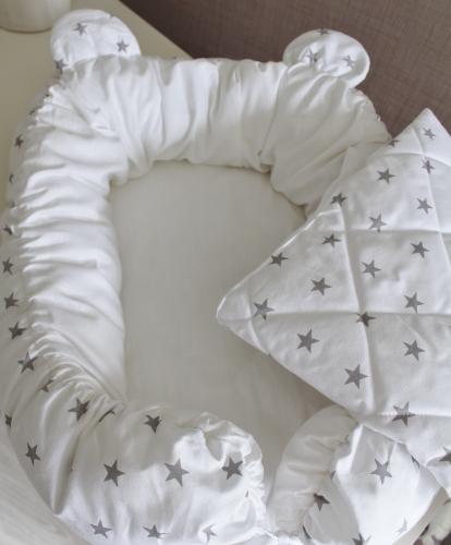 Комплект Babynest + одеяло белый с серыми звездами арт 5024