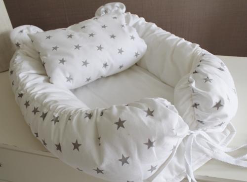 Babynest Комплект кокон + подушечка декоративная белый с серыми звездами арт 5034