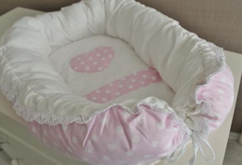 Babynest, гнездышко, кокон для младенца - розовый в белый горох арт 5006