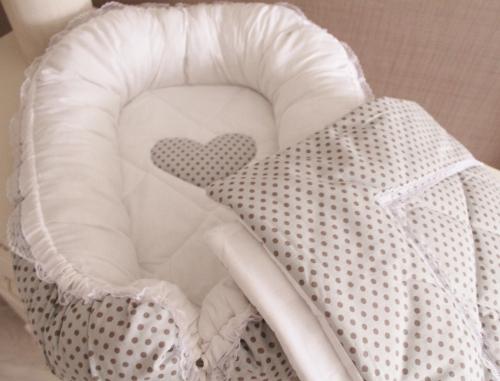 Комплект Babynest + одеяло серый в горох арт 5021