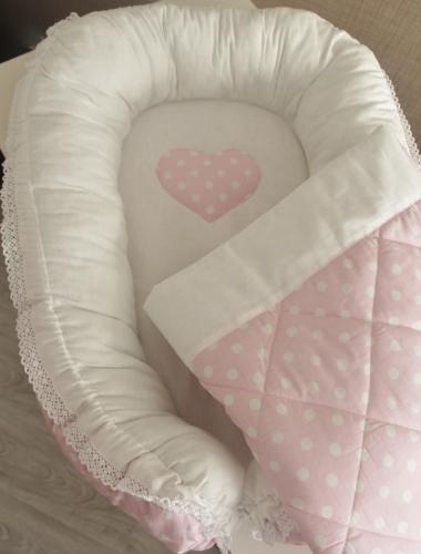Комплект Babynest + одеяло розовое в белый горох арт 5026