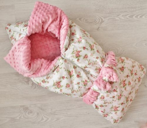 Демисезонное одеяло - конверт - трансформер на выписку Утренняя роза арт 220021
