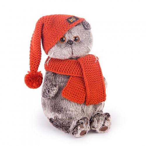 Басик в вязаной  шапке и шарфе  30см