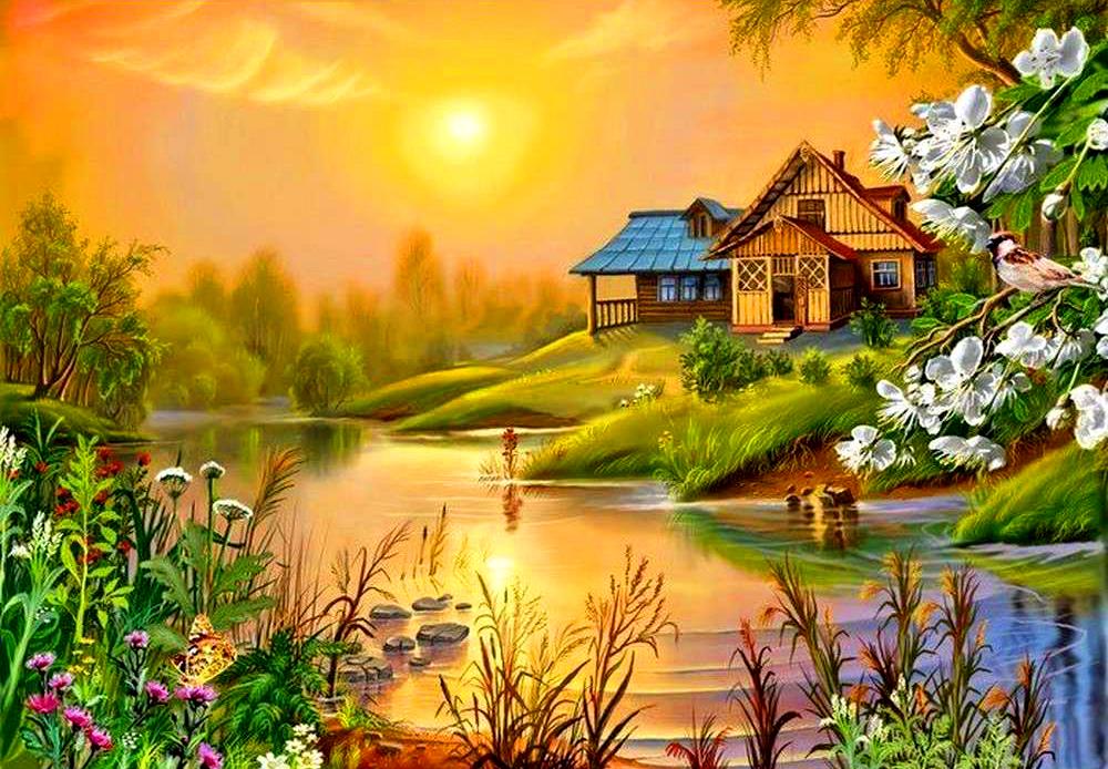 лето природа рисунок древних времен россия