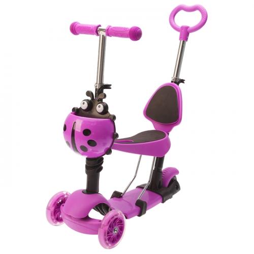 Самокат-каталка детский 5 в 1 GRAFFITI Snuggi, цвет фиолетовый
