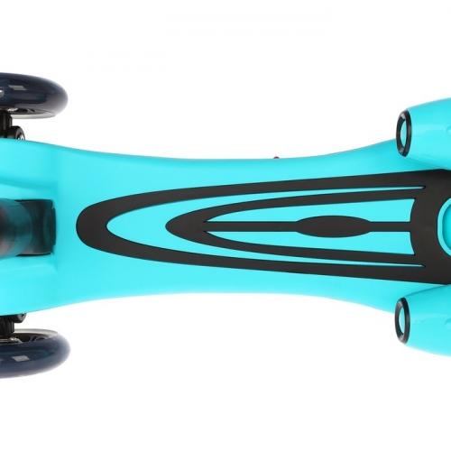 Самокат стальной FL-818, колеса PU d=120 мм, ABEC 7, свет,звук, имитация дыма, цвет голубой