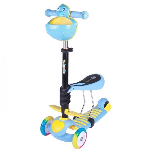 Самокат-каталка 3 в1 ОТ-922, три колеса PU d=120 и 90 мм, световые, цвет синий в пакете
