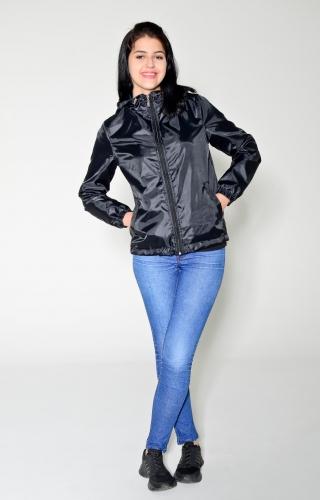 Арт.KG-006 Куртка-ветровка укороченная с капюшоном,цвет-черный