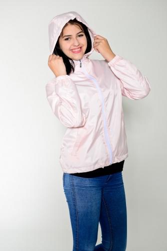 Арт.KG-006 Куртка-ветровка укороченная с капюшоном,цвет-нежно-розовый
