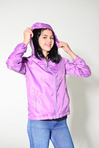 Арт.KG-006 Куртка-ветровка укороченная с капюшоном,цвет-лиловый