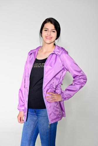 890 990Арт. KG-004 Удлиненная куртка-ветровка с капюшоном,цвет-лиловый