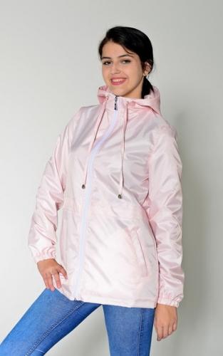 890 990Арт. KG-004 Удлиненная куртка-ветровка с капюшоном,цвет-нежно-розовыйм