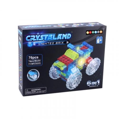 Светящийся конструктор Crystaland Трактор 6 в 1, 76 деталей SHG009