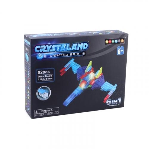Светящийся конструктор Crystaland Военный самолет 6 в 1, 92 детали SHG015