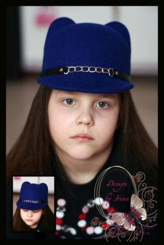 Шляпка с ушками и ремешком с цепочкой(синяя)….