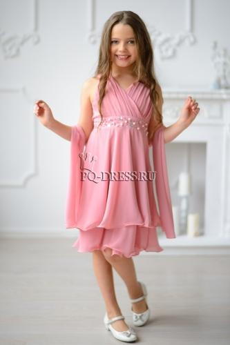 738eb17dac86f0c Платье нарядное для девочки арт. ИР-1409, цвет персик