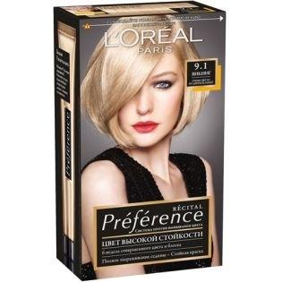Краска для волос L`Oreal (Лореаль) Recital Preference (Преферанс) 9.1 - ВИКИНГ Очень светло-русый пепельный