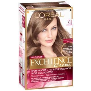 Краска для волос L`Oreal (Лореаль) Excellence (Экселленс), оттенок 7.1 - Русый пепельный