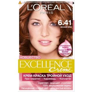 Краска для волос L`Oreal (Лореаль) Excellence (Экселленс), оттенок 6.41 - Лесной орех