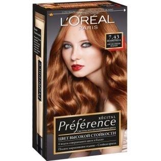 Краска для волос L`Oreal (Лореаль) Recital Preference (Преферанс) 7.43 - ШАНГРИЛА Интенсивный медный