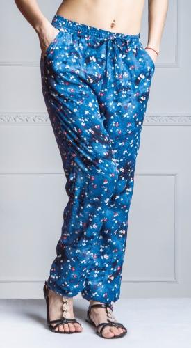 490 760Летние женские брюки из принтованного штапеля.Принт-цветочный джинс, арт. В18