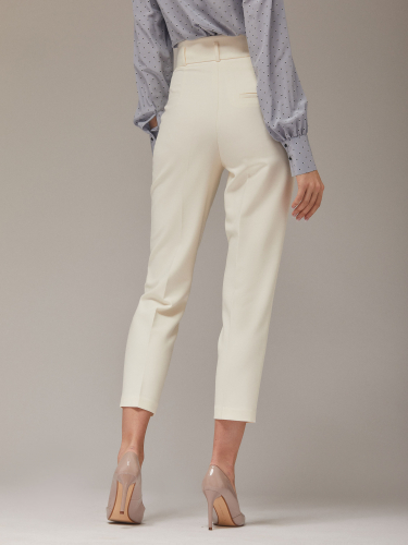 Однотонные брюки высокой посадки из поливискозы