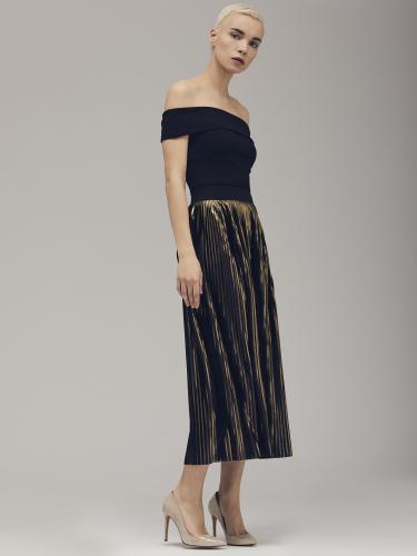Комбинированное платье с открытыми плечами