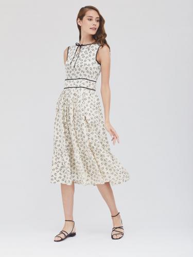 Платье-миди с растительным узором