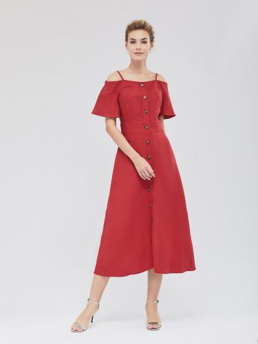 Платье-миди с открытыми плечами