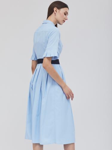 Платье-рубашка с контрастным длинным поясом