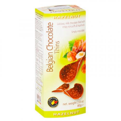 Шоколадные чипсы Belgian Chocolate Thins Лесной орех 80 гр Артикул: 5235