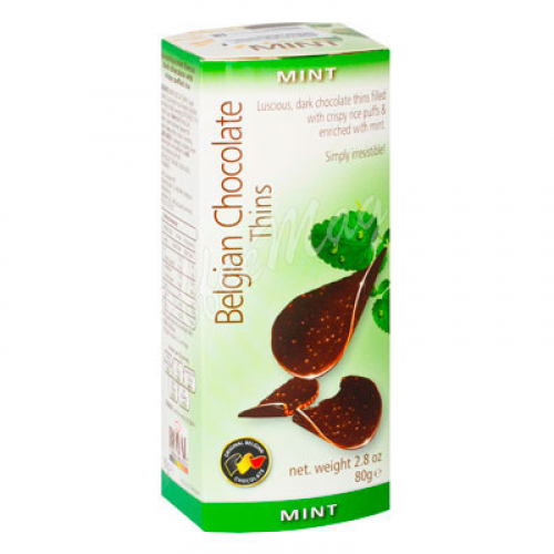 Шоколадные чипсы Belgian Chocolate Thins Мята 80 гр Артикул: 5234
