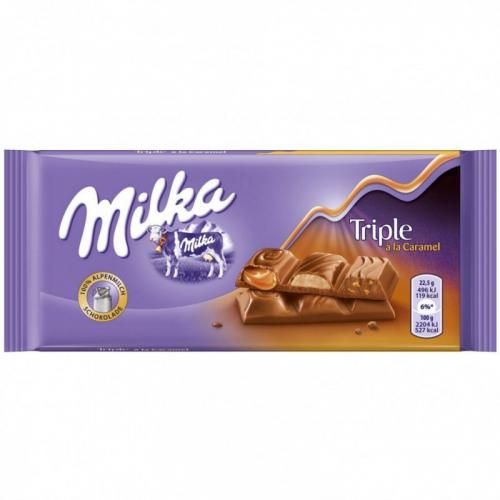 Шоколад Milka Triple Caramel 90гр(плитка) Артикул: 5165